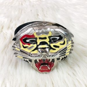 Tiger Face Black Leather Belt Removable Buckle
